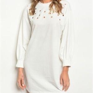 Dresses & Skirts - NWT Off White Long Sleeve Skater Dress S-L